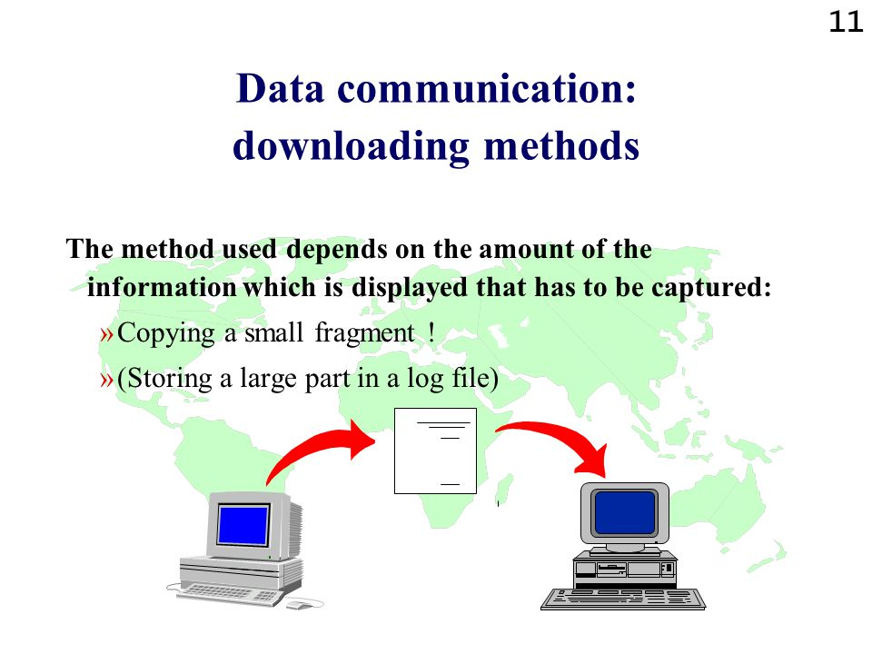 11 Data communication: downloading methods The method used depends on the amount of the information which is displayed that has to be captured: »Copying a small fragment .