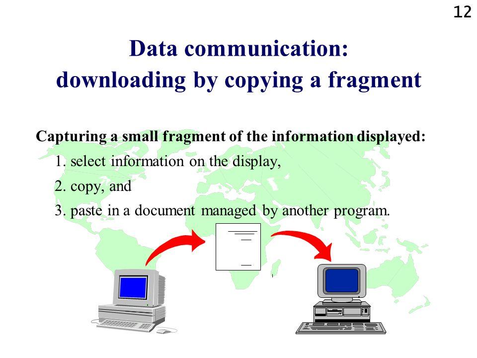 12 Data communication: downloading by copying a fragment Capturing a small fragment of the information displayed: 1.