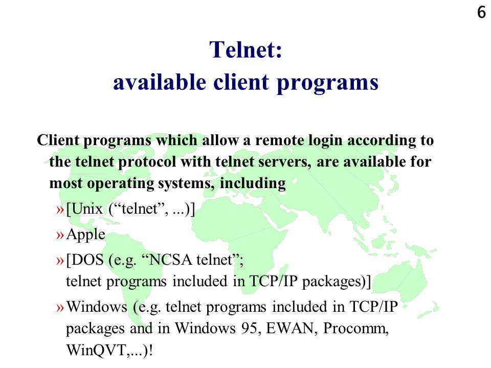 17 ftp: file transfer protocol in the Internet A high-level protocol = application protocol in the Internet.