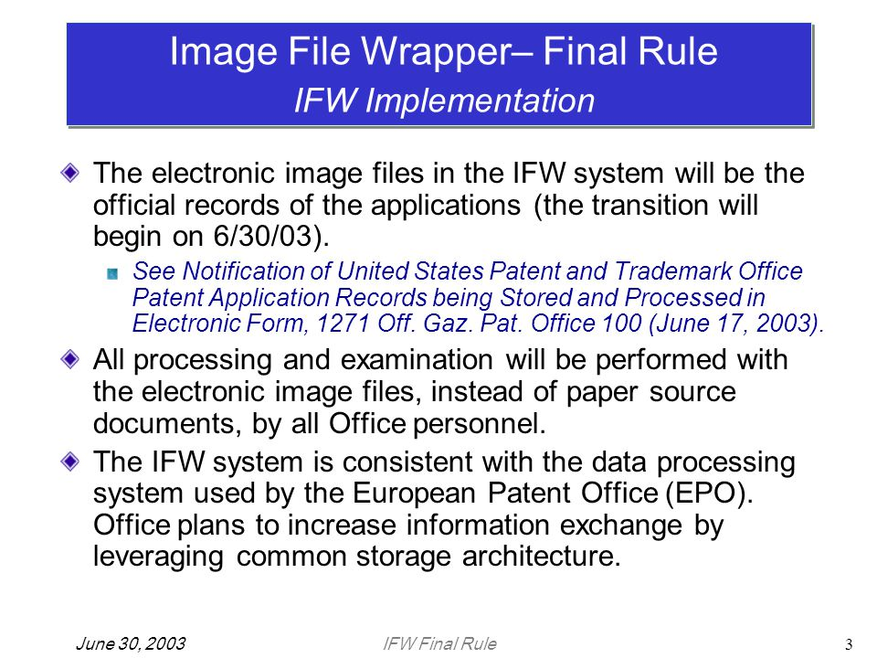 IFW Final RuleJune 30, 200324 Thank you