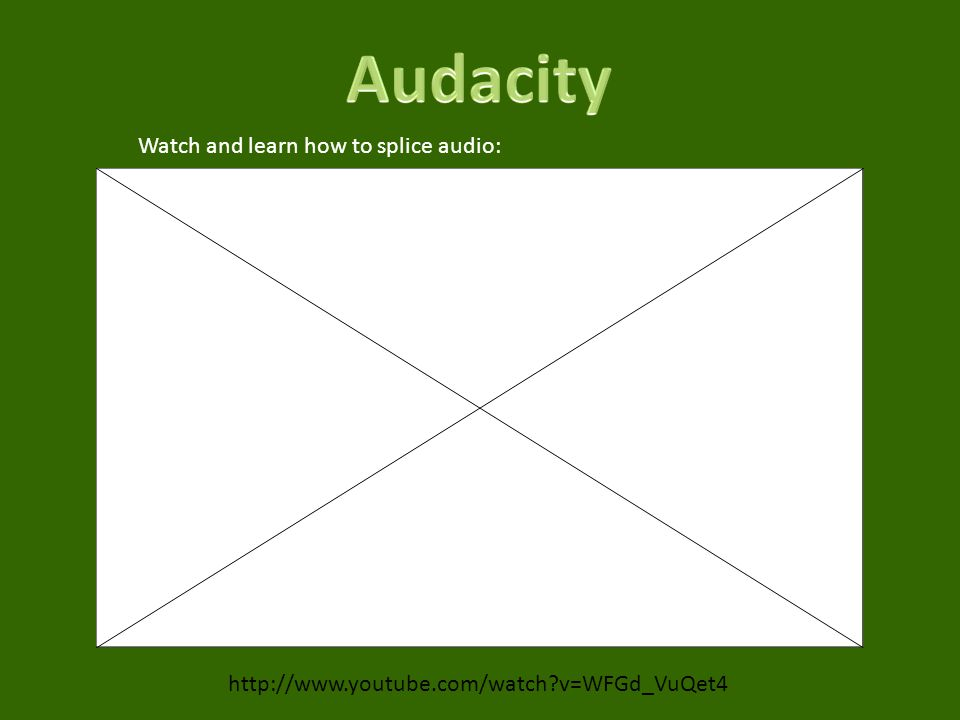 v=WFGd_VuQet4 Watch and learn how to splice audio: