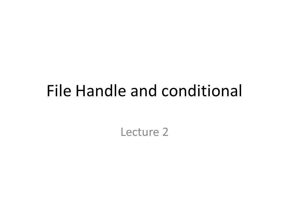 File Handle and conditional Lecture 2