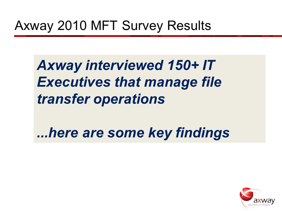 Axway 2010 MFT Survey Results Axway interviewed 150+ IT Executives that manage file transfer operations...here are some key findings