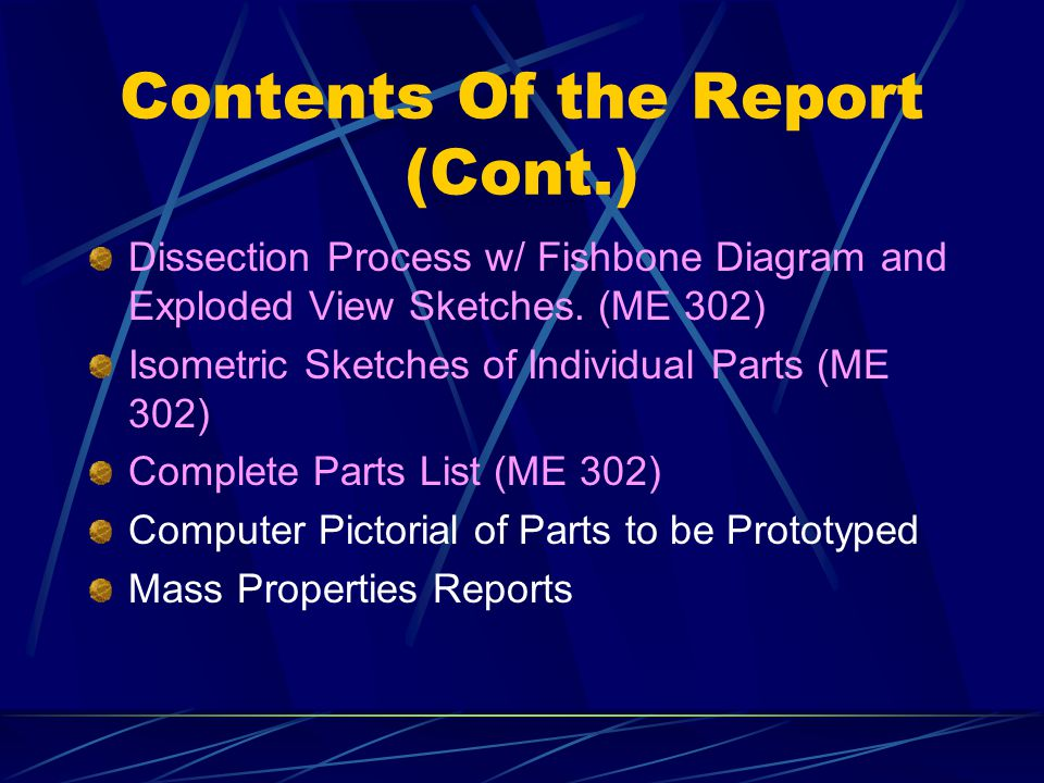 Contents Of the Report (Cont.) Dissection Process w/ Fishbone Diagram and Exploded View Sketches. (ME 302) Isometric Sketches of Individual Parts (ME