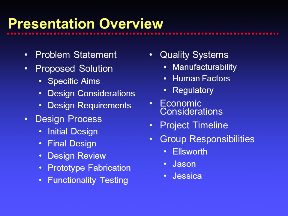 Presentation Overview Problem Statement Proposed Solution Specific Aims Design Considerations Design Requirements Design Process Initial Design Final