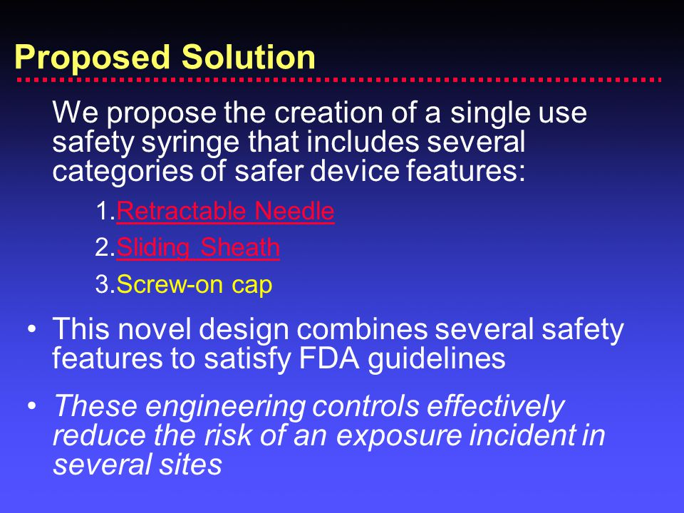 Proposed Solution We propose the creation of a single use safety syringe that includes several categories of safer device features: 1.Retractable NeedleRetractable Needle 2.Sliding SheathSliding Sheath 3.Screw-on cap This novel design combines several safety features to satisfy FDA guidelines These engineering controls effectively reduce the risk of an exposure incident in several sites