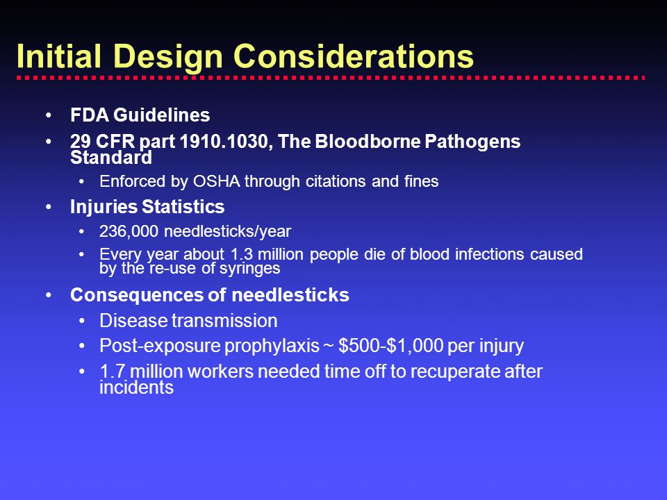 FDA Guidelines 29 CFR part 1910.1030, The Bloodborne Pathogens Standard Enforced by OSHA through citations and fines Injuries Statistics 236,000 needl