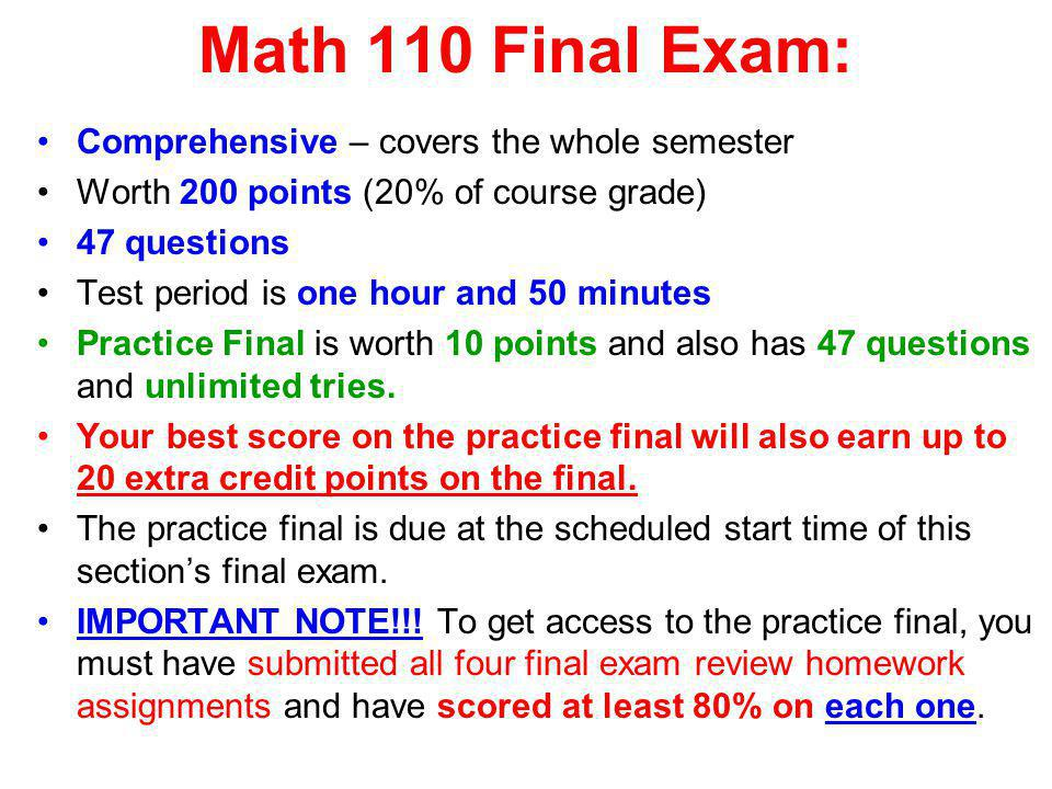 Final Exam Review Materials: 1.Four review homework assignments: These are each worth 15 points, vs.