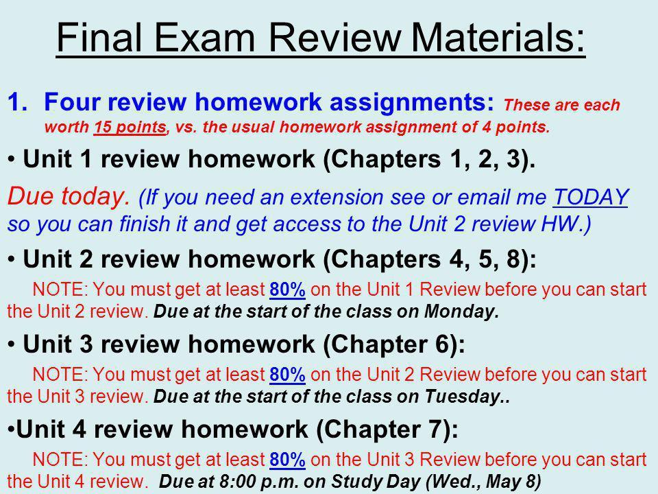 Final Exam Review Materials: 2.