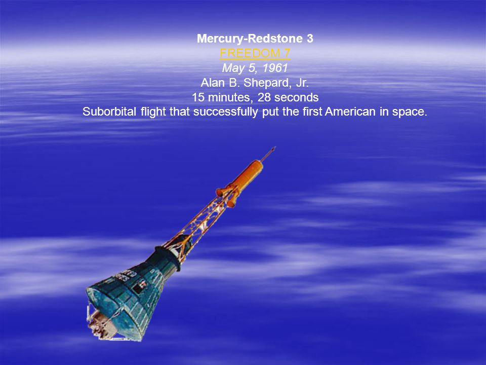  The Mercury Program (1960 – 1962)  1 st program to put an astronaut into space.