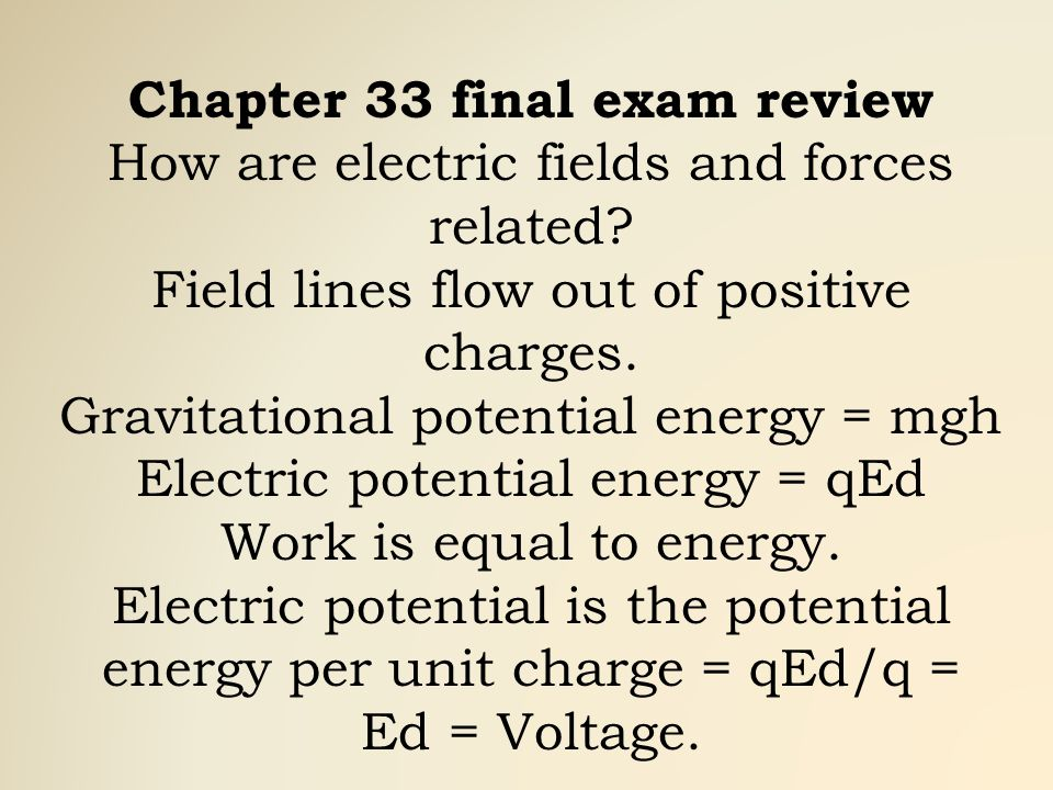 Chapter 33 final exam review How are electric fields and forces related.