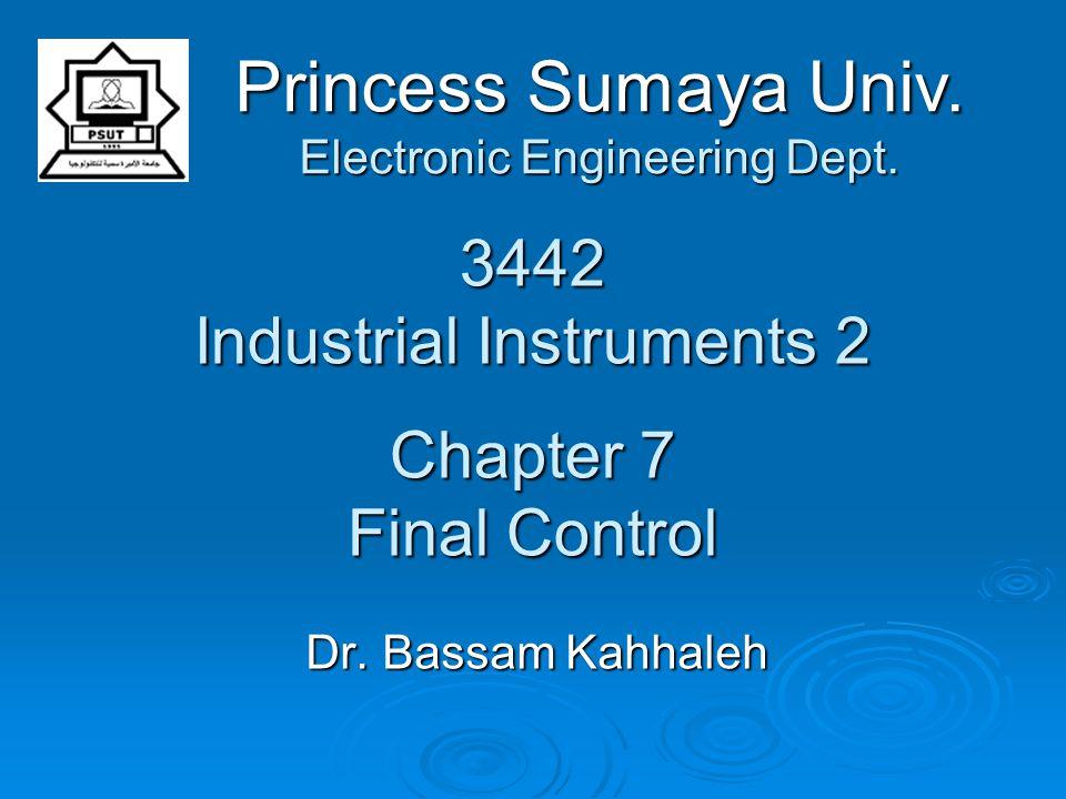 3442 Industrial Instruments 2 Chapter 7 Final Control Dr. Bassam Kahhaleh Princess Sumaya Univ. Electronic Engineering Dept.