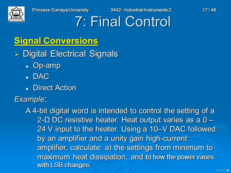 Princess Sumaya University3442 - Industrial Instruments 217 / 46 7: Final Control Signal Conversions  Digital Electrical Signals Op-amp Op-amp DAC DA