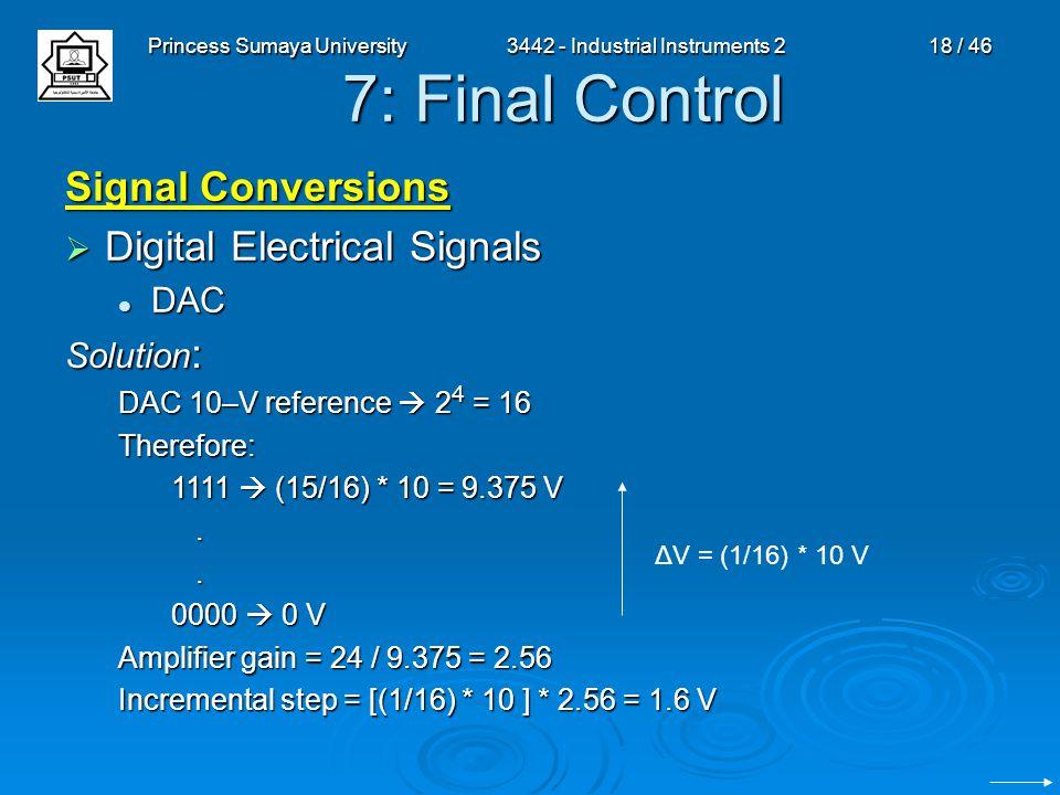 Princess Sumaya University3442 - Industrial Instruments 218 / 46 7: Final Control Signal Conversions  Digital Electrical Signals DAC DAC Solution : D