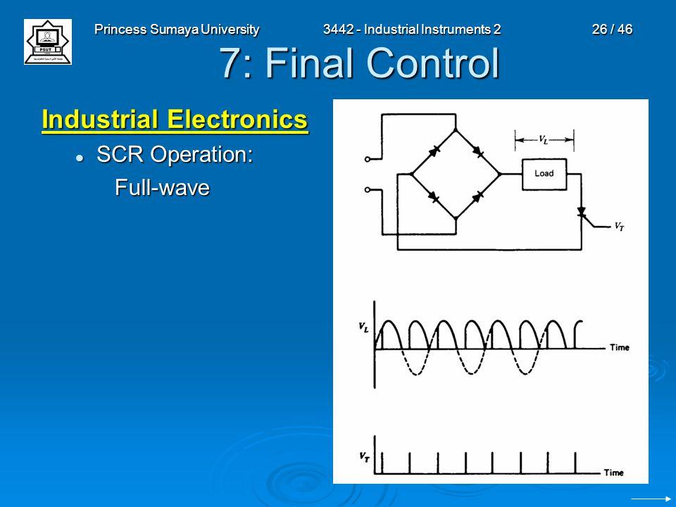 Princess Sumaya University3442 - Industrial Instruments 226 / 46 7: Final Control Industrial Electronics SCR Operation: SCR Operation: Full-wave