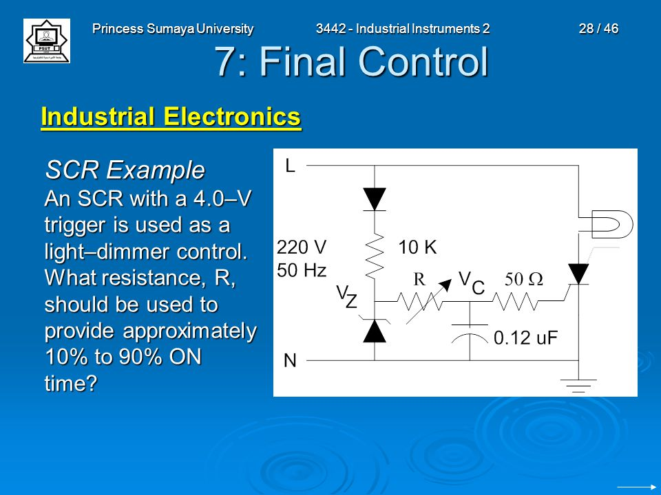 Princess Sumaya University3442 - Industrial Instruments 228 / 46 7: Final Control Industrial Electronics SCR Example An SCR with a 4.0–V trigger is us