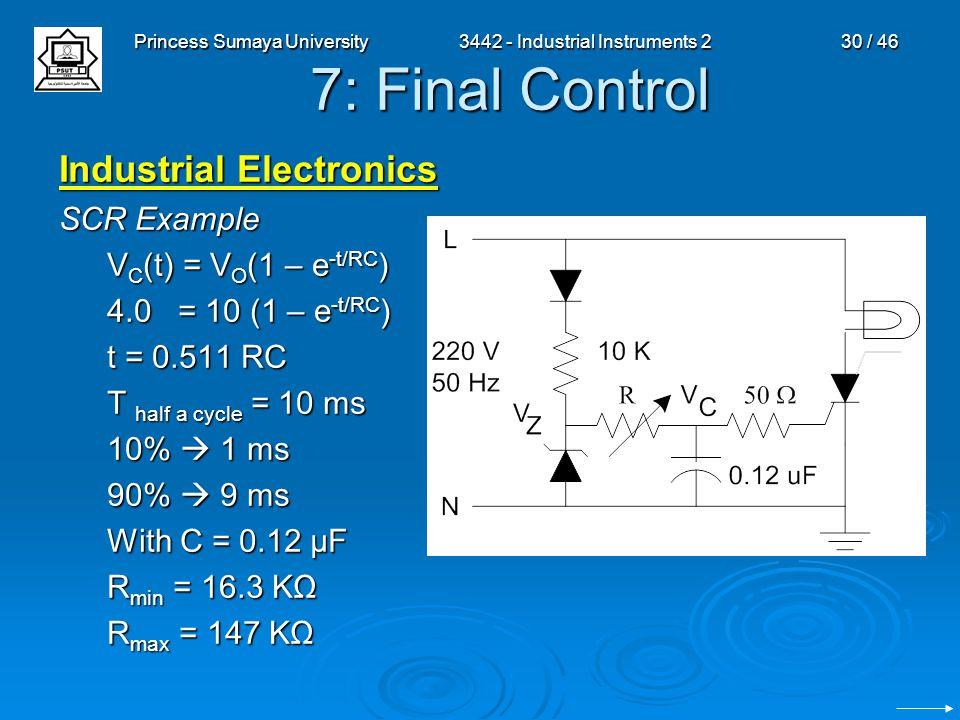 Princess Sumaya University3442 - Industrial Instruments 230 / 46 7: Final Control Industrial Electronics SCR Example V C (t) = V O (1 – e -t/RC ) 4.0