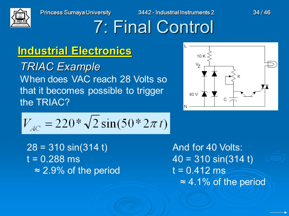 Princess Sumaya University3442 - Industrial Instruments 234 / 46 7: Final Control Industrial Electronics TRIAC Example When does VAC reach 28 Volts so