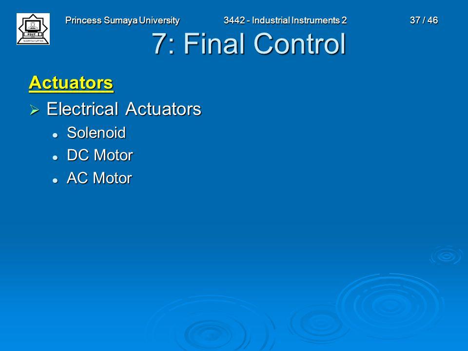 Princess Sumaya University3442 - Industrial Instruments 237 / 46 7: Final Control Actuators  Electrical Actuators Solenoid Solenoid DC Motor DC Motor
