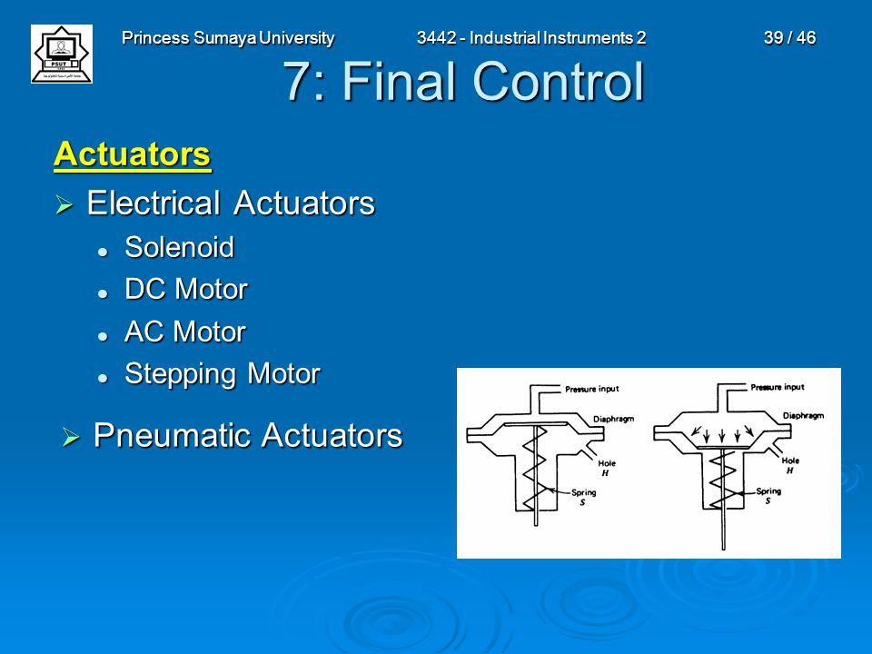 Princess Sumaya University3442 - Industrial Instruments 239 / 46 7: Final Control Actuators  Electrical Actuators Solenoid Solenoid DC Motor DC Motor