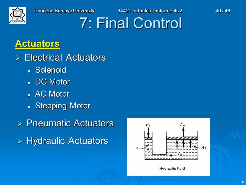 Princess Sumaya University3442 - Industrial Instruments 240 / 46 7: Final Control Actuators  Electrical Actuators Solenoid Solenoid DC Motor DC Motor