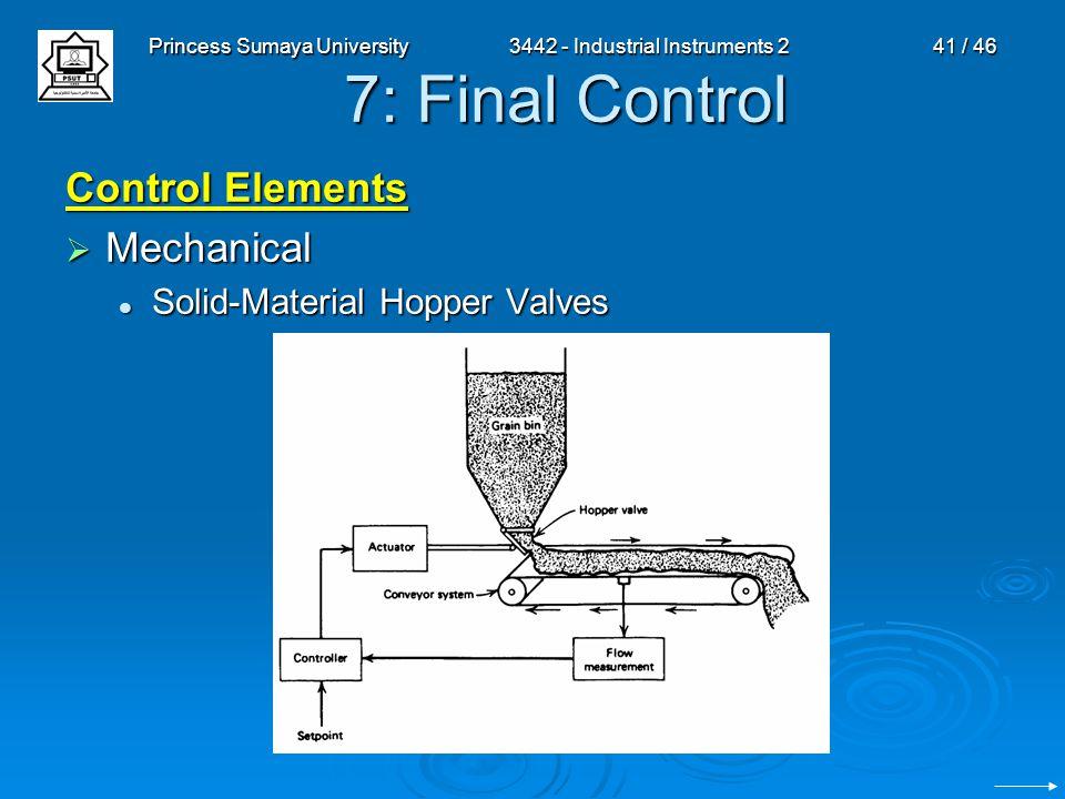 Princess Sumaya University3442 - Industrial Instruments 241 / 46 7: Final Control Control Elements  Mechanical Solid-Material Hopper Valves Solid-Mat