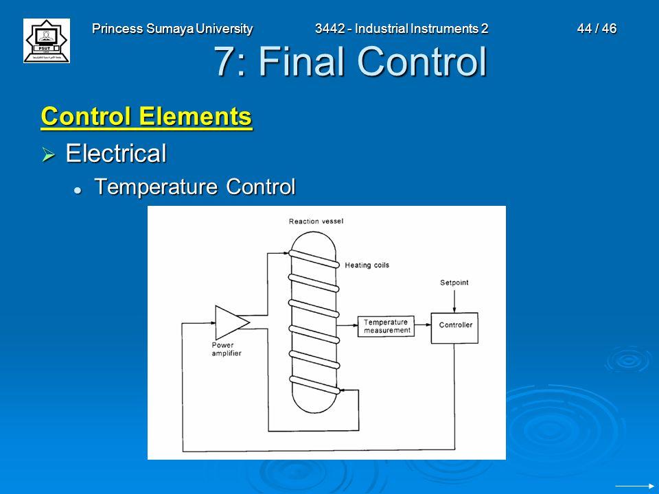 Princess Sumaya University3442 - Industrial Instruments 244 / 46 7: Final Control Control Elements  Electrical Temperature Control Temperature Contro