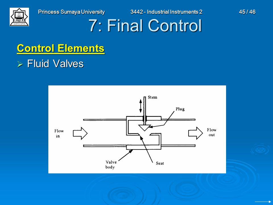 Princess Sumaya University3442 - Industrial Instruments 245 / 46 7: Final Control Control Elements  Fluid Valves