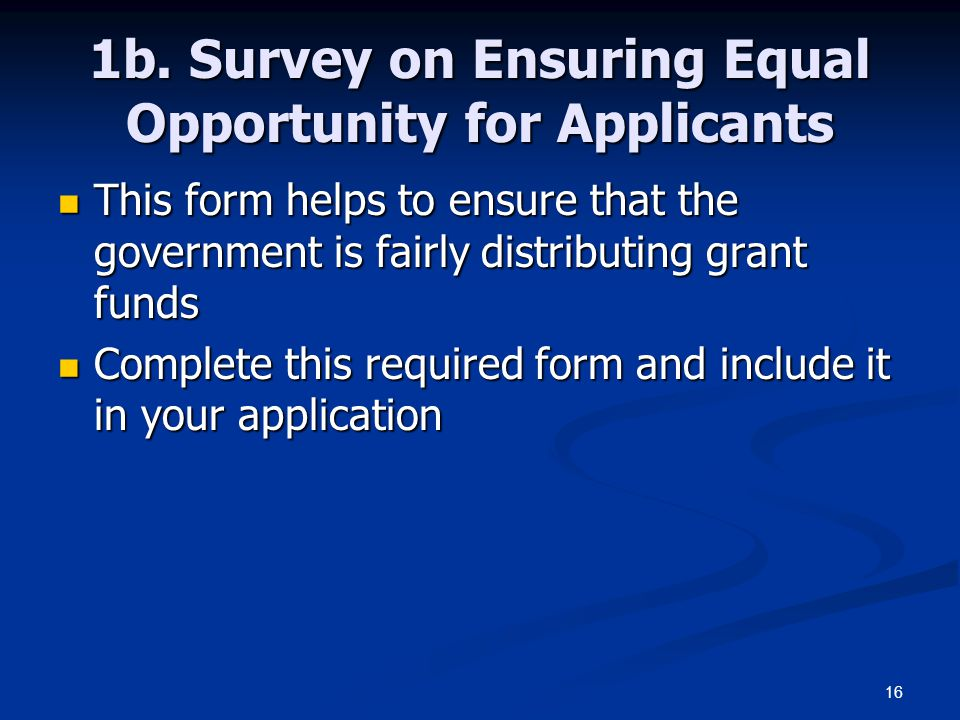 16 1b. Survey on Ensuring Equal Opportunity for Applicants This form helps to ensure that the government is fairly distributing grant funds This form