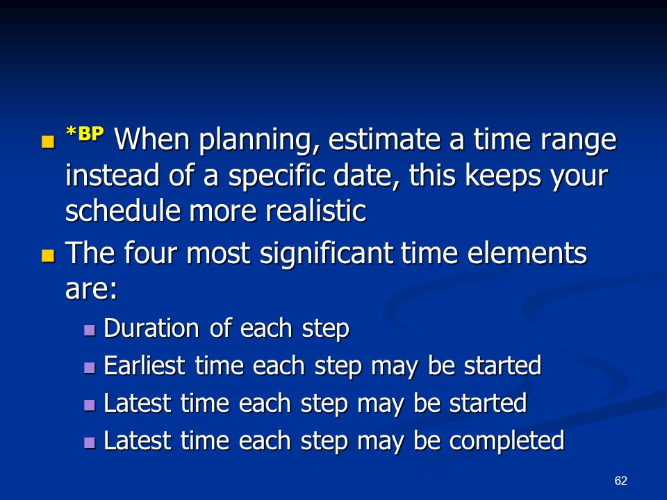 62 *BP When planning, estimate a time range instead of a specific date, this keeps your schedule more realistic *BP When planning, estimate a time ran