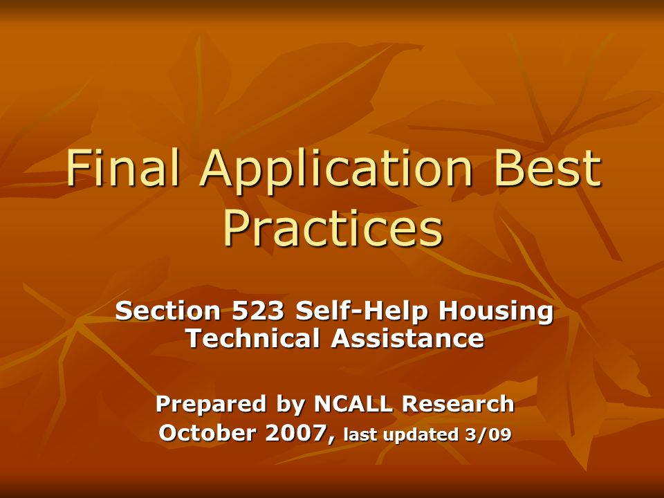 NCALL's Final Application Review Checklist Checklist NCALL uses to review applications Checklist NCALL uses to review applications It is has more detail and will help with assembling the application and meeting all of the requirements It is has more detail and will help with assembling the application and meeting all of the requirements See Guide for actual checklist See Guide for actual checklist