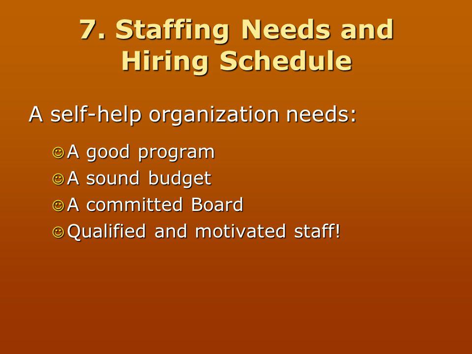 7. Staffing Needs and Hiring Schedule A self-help organization needs: A good program A good program A sound budget A sound budget A committed Board A