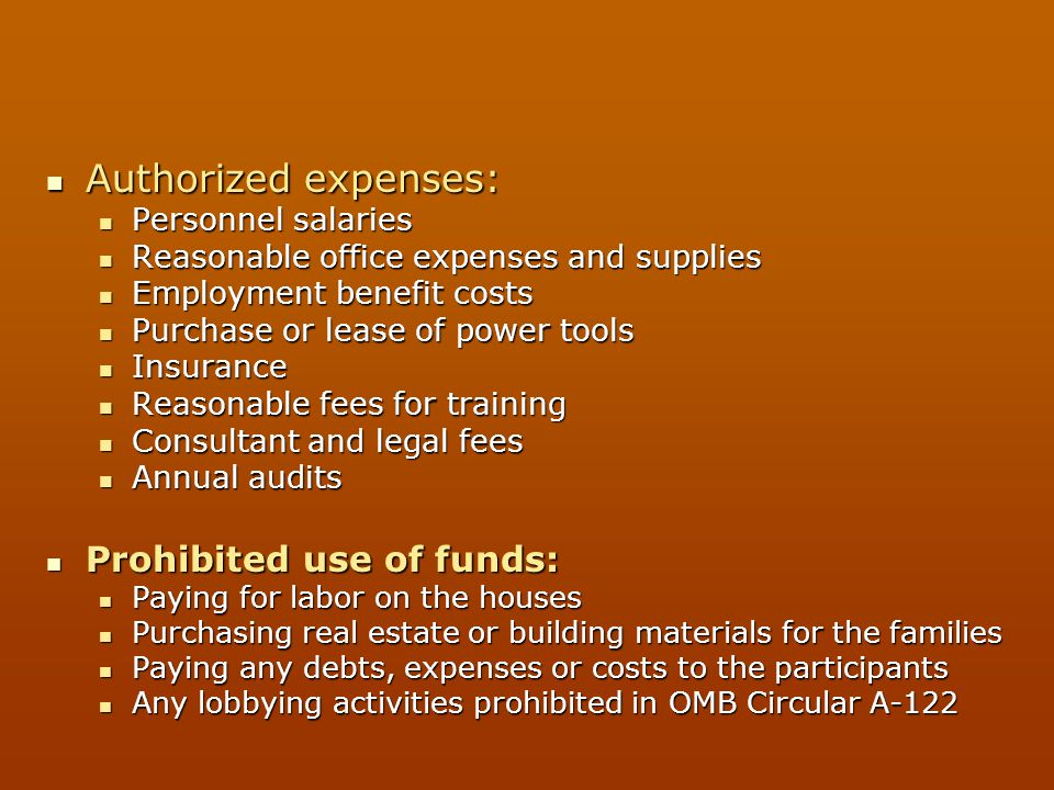 Authorized expenses: Authorized expenses: Personnel salaries Personnel salaries Reasonable office expenses and supplies Reasonable office expenses and