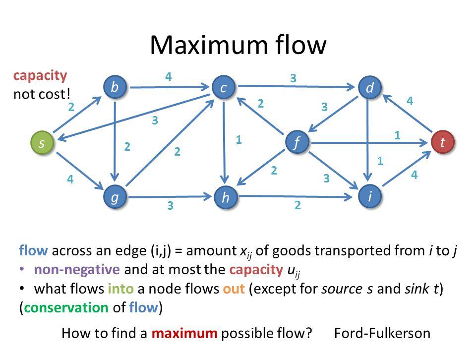 Maximum flow 4 1 3 3 3 4 2 4 2 3 2 s s b b g g c c h h i i f f d d t t 1 4 2 1 2 3 2 capacity not cost! flow across an edge (i,j) = amount x ij of goo