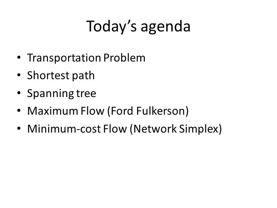 Today's agenda Transportation Problem Shortest path Spanning tree Maximum Flow (Ford Fulkerson) Minimum-cost Flow (Network Simplex)