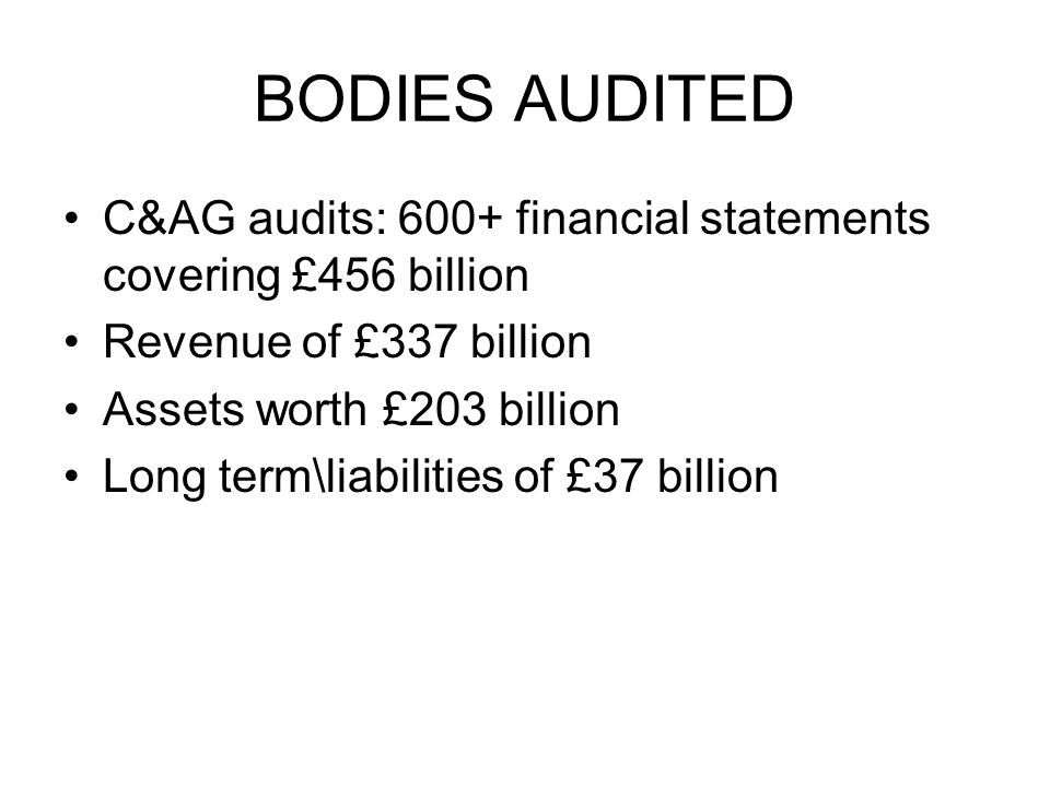 BODIES AUDITED C&AG audits: 600+ financial statements covering £456 billion Revenue of £337 billion Assets worth £203 billion Long term\liabilities of