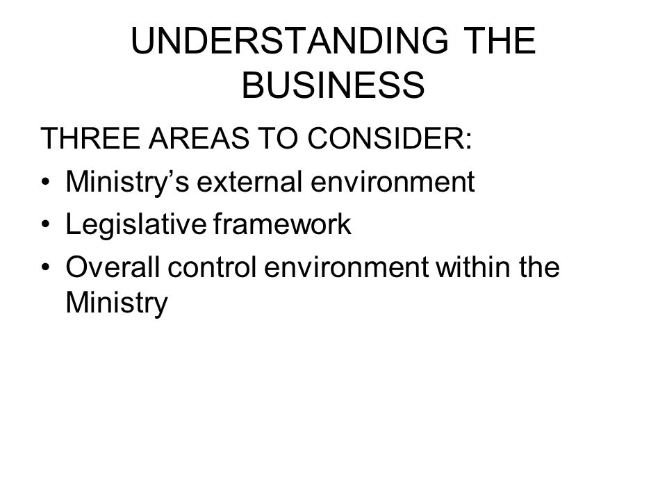 UNDERSTANDING THE BUSINESS THREE AREAS TO CONSIDER: Ministry's external environment Legislative framework Overall control environment within the Minis