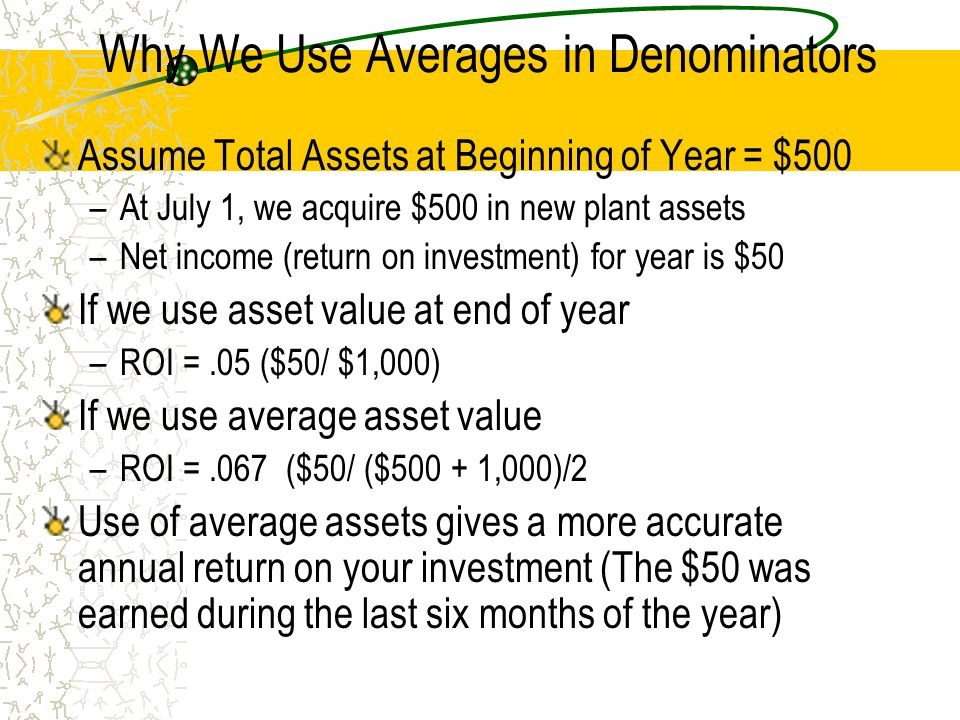 Advantage of Using DuPont Model Identifies cause of change in ROI from year to year Uses the product of two intermediate calculations for sales margin (efficiency measure) and asset turnover (effective utilization of assets to generate revenue) Assume the following information as an example Year 01: Net Income-$50; Average Assets-$800; Sales-$1,000 Year 02: Net Income-$50; Average Assets-$1,000; Sales-$2,000