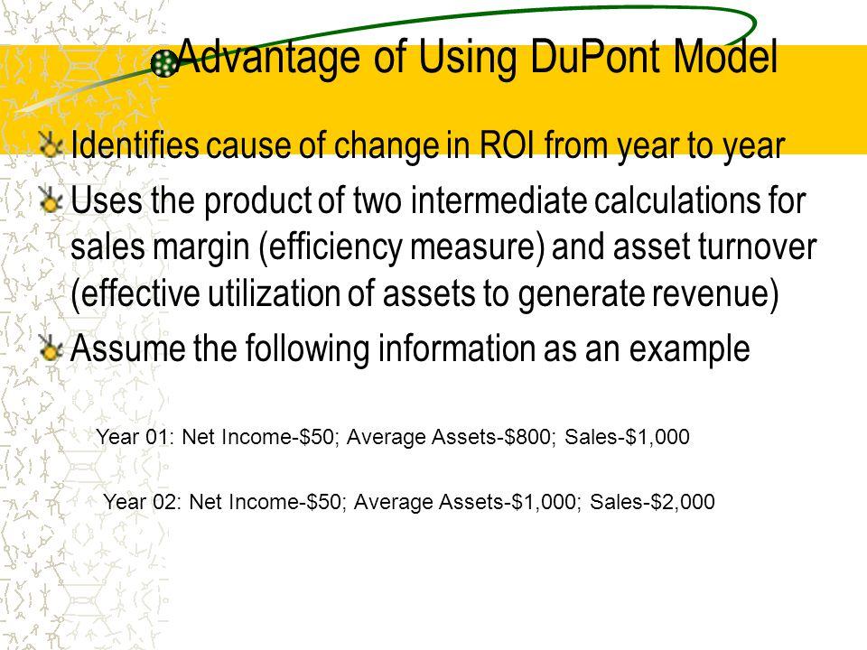 Calculation of ROI Both Methods Year 01 Year 02 Regular $50/$800 =.0625 $50/$1,000=.05 DuPont 50/1,000 * 1,000/800 50/2,000 * 2000/1000.05 * 1.25 =.025 * 2 =.0625.05