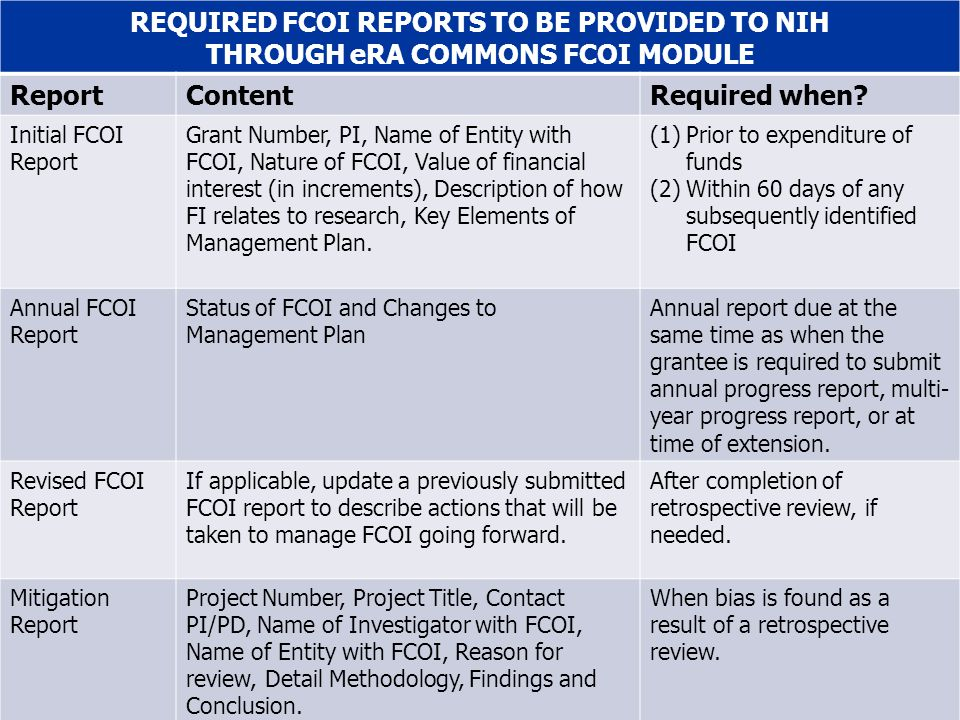 45 REQUIRED FCOI REPORTS TO BE PROVIDED TO NIH THROUGH eRA COMMONS FCOI MODULE ReportContentRequired when.