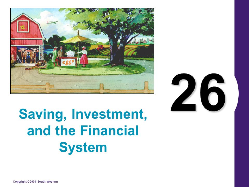 Copyright © 2004 South-Western The Financial System financial systemThe financial system consists of the group of institutions in the economy that help to match one person's saving with another person's investment.