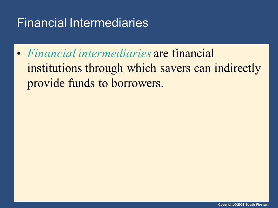 Copyright © 2004 South-Western Financial Intermediaries Financial intermediaries are financial institutions through which savers can indirectly provide funds to borrowers.