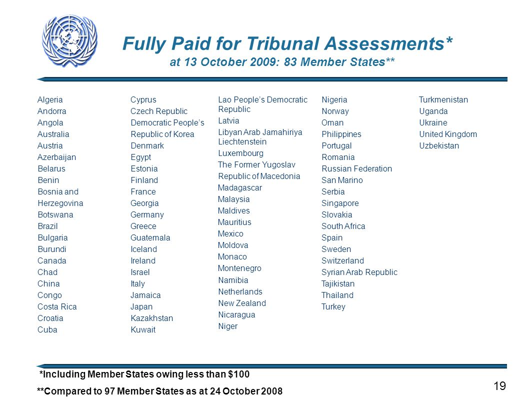 Fully Paid for Tribunal Assessments* at 13 October 2009: 83 Member States** 19 *Including Member States owing less than $100 **Compared to 97 Member S