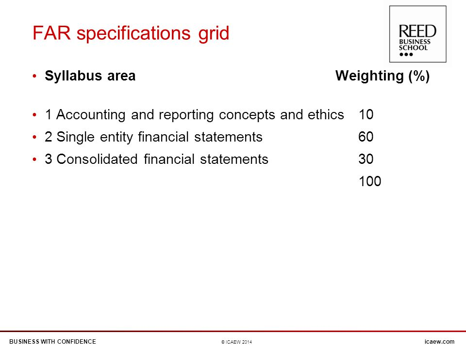 BUSINESS WITH CONFIDENCEicaew.com © ICAEW 2014 FAR specifications grid Syllabus area Weighting (%) 1 Accounting and reporting concepts and ethics 10 2 Single entity financial statements 60 3 Consolidated financial statements 30 100