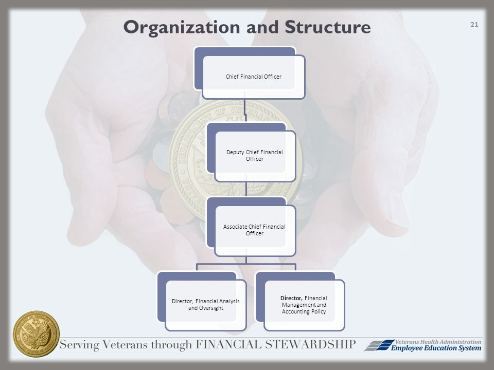 Organization and Structure Chief Financial Officer Deputy Chief Financial Officer Associate Chief Financial Officer Director, Financial Analysis and Oversight Director, Financial Management and Accounting Policy 21