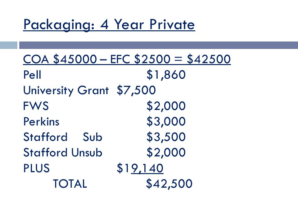 Packaging: 4 Year Private COA $45000 – EFC $2500 = $42500 Pell $1,860 University Grant $7,500 FWS $2,000 Perkins $3,000 StaffordSub $3,500 Stafford Unsub $2,000 PLUS $19,140 TOTAL $42,500