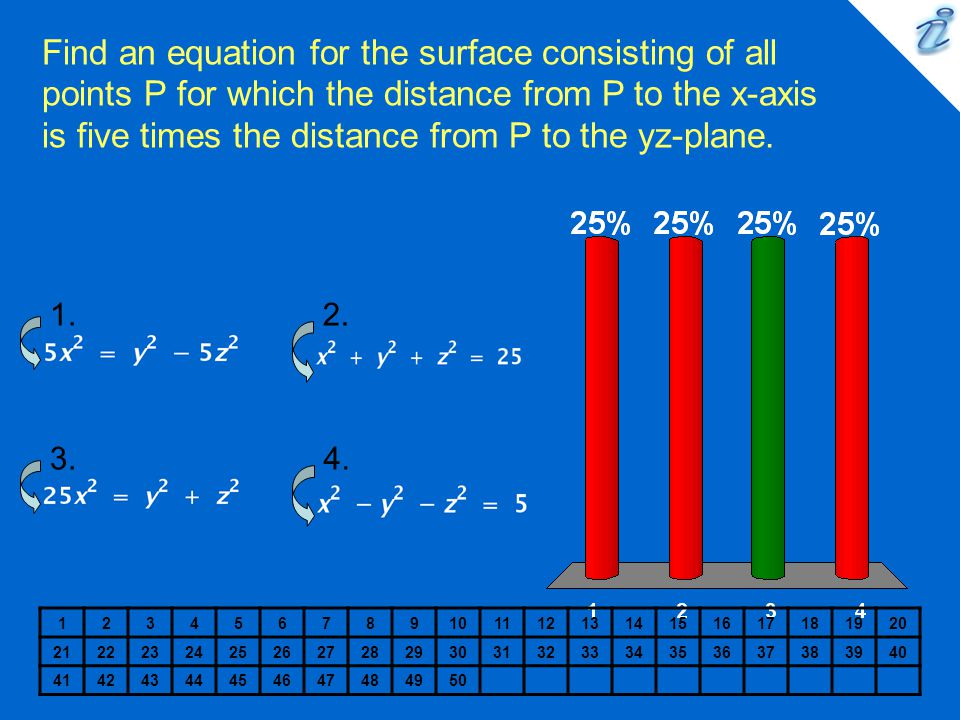 Find an equation for the surface consisting of all points P for which the distance from P to the x-axis is five times the distance from P to the yz-pl