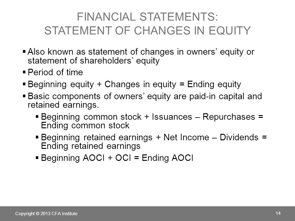 FINANCIAL STATEMENTS: STATEMENT OF CHANGES IN EQUITY  Also known as statement of changes in owners' equity or statement of shareholders' equity  Per