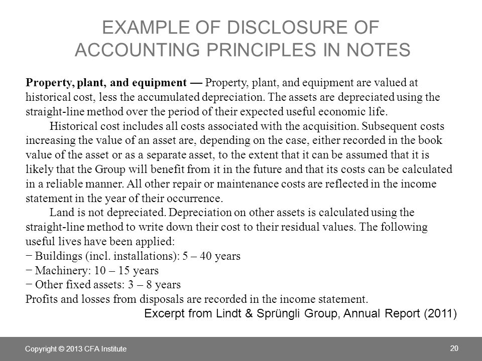 EXAMPLE OF DISCLOSURE OF ACCOUNTING PRINCIPLES IN NOTES Property, plant, and equipment — Property, plant, and equipment are valued at historical cost,