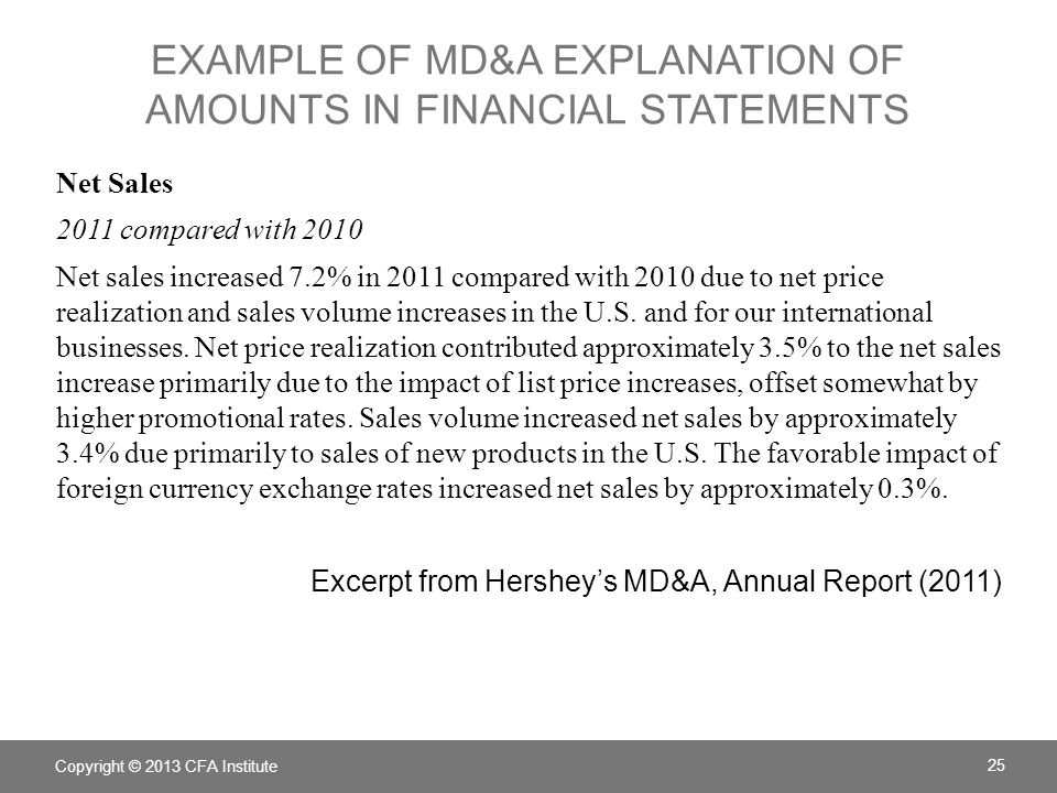 EXAMPLE OF MD&A EXPLANATION OF AMOUNTS IN FINANCIAL STATEMENTS Net Sales 2011 compared with 2010 Net sales increased 7.2% in 2011 compared with 2010 d